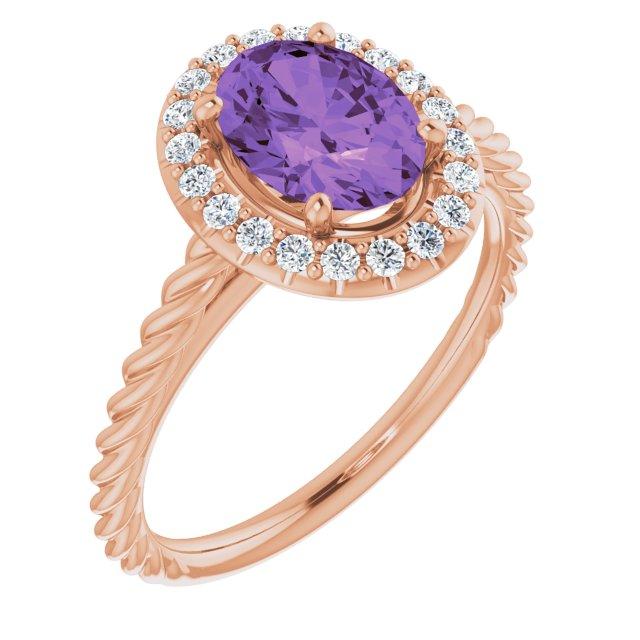 14K Rose Amethyst & 1/6 CTW Diamond Ring