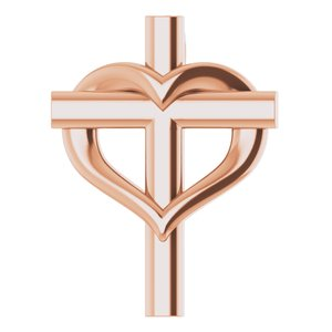 14K Rose Youth Cross with Heart Pendant