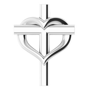 14K White Youth Cross with Heart Pendant