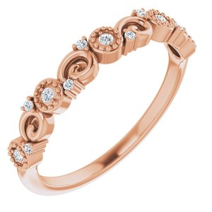 14K Rose .08 CTW Diamond Anniversary Band