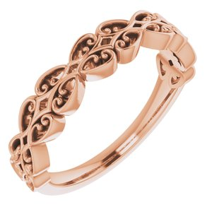 14K Rose Vintage-Inspired Stackable Ring