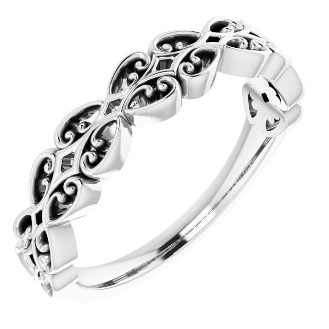 14K White Vintage-Inspired Stackable Ring