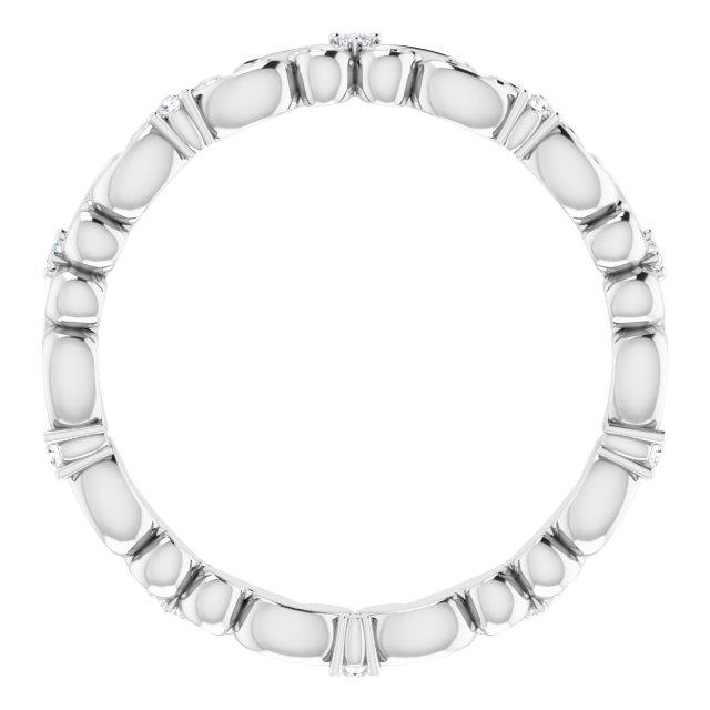 14K White .05 CTW Diamond Eternity Band Size 6.5