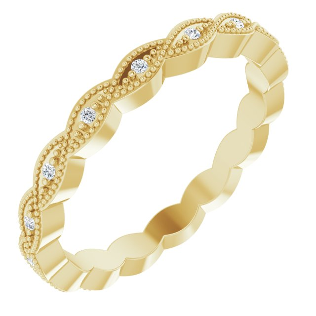 14K Yellow .07 CTW Diamond Eternity Band Size 7