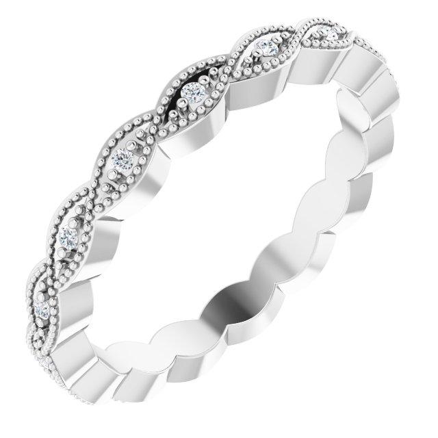 14K White .07 CTW Diamond Eternity Band Size 5