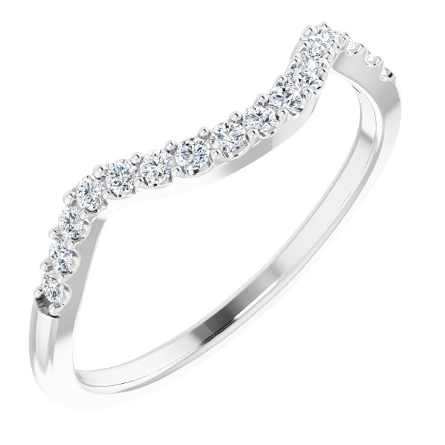 14K White 1/5 CTW Diamond Matching Band for 5.2 mm Round Ring