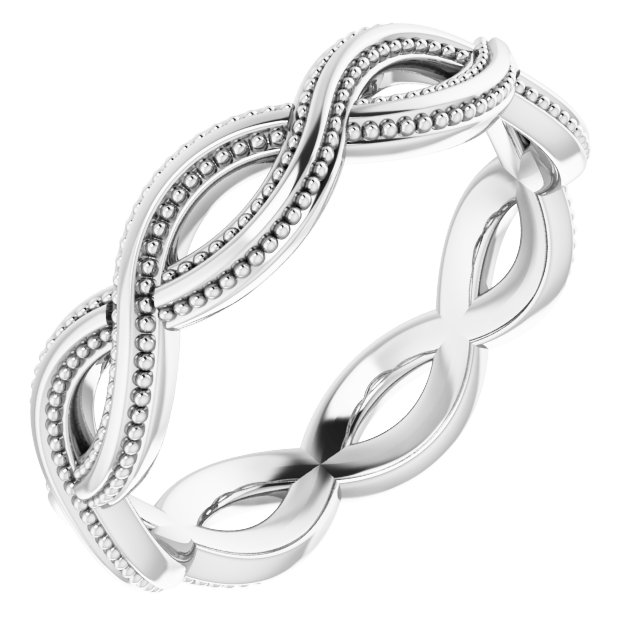 14K White 4.55 mm Infinity-Inspired Band Size 5