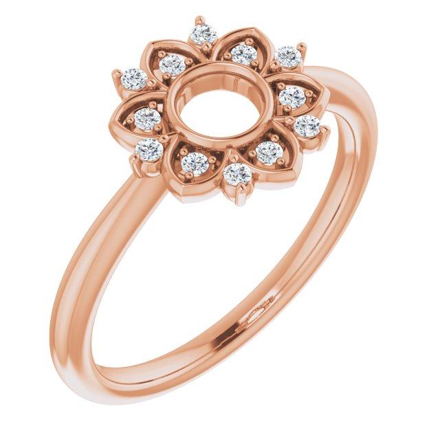 14K Rose 1/10 CTW Diamond Starburst Ring