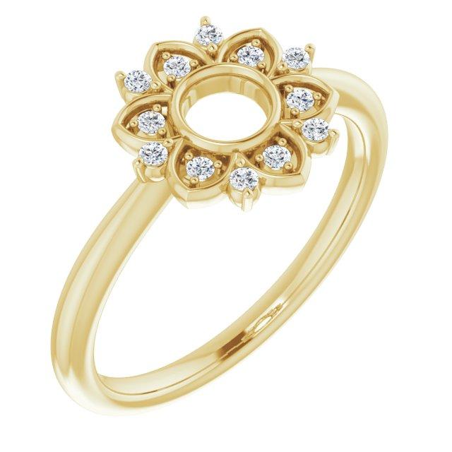 14K Yellow 1/10 CTW Diamond Starburst Ring