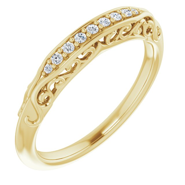14K Yellow .07 CTW Diamond Matching Band