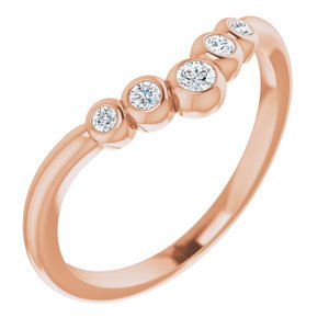 "14K Rose 1/10 CTW Diamond Bezel-Set Graduated ""V"" Ring"
