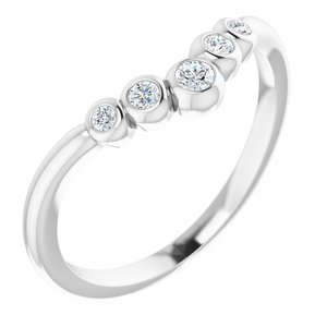 """14K White 1/10 CTW Diamond Bezel-Set Graduated """"V"""" Ring"""