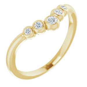 "14K Yellow 1/10 CTW Diamond Bezel-Set Graduated ""V"" Ring"