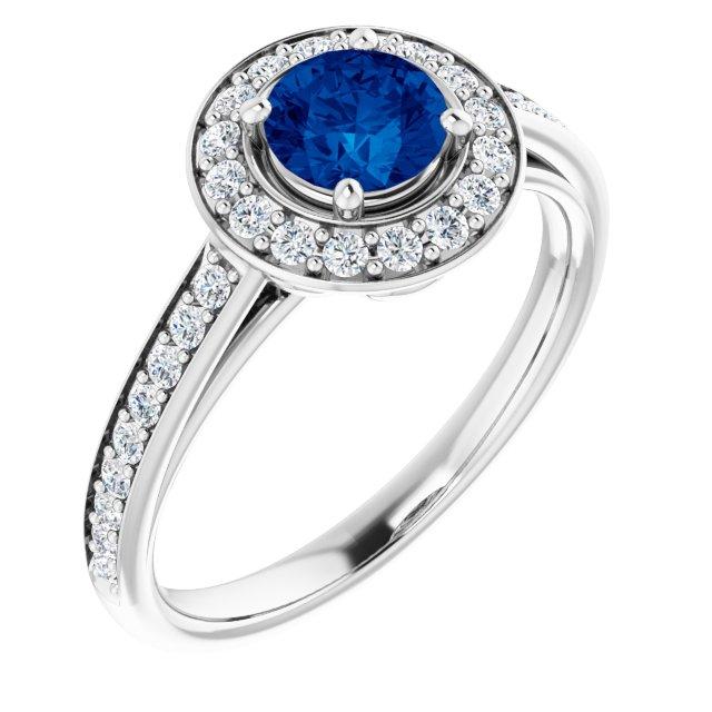 14K White Lab-Grown Blue Sapphire & 1/3 CTW Diamond Ring