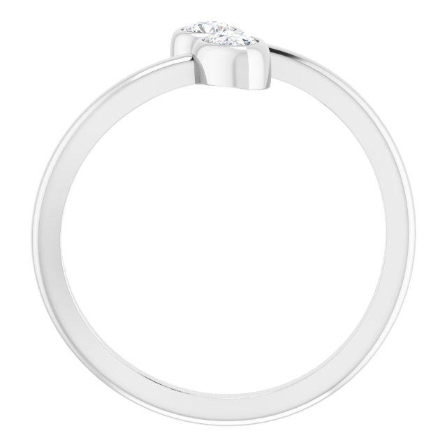 14K White 1/4 CTW Diamond Bezel-Set Bypass Ring