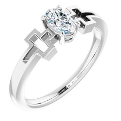 Solitaire Cross Youth Ring