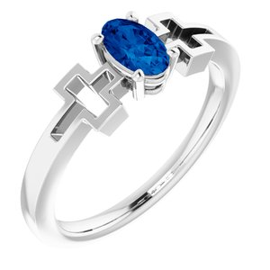 14K White Chatham® Created Blue Sapphire Solitaire Cross Youth Ring