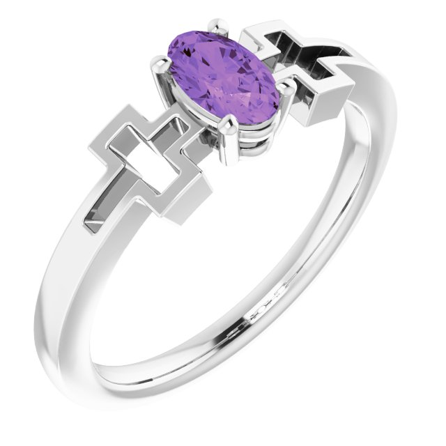Sterling Silver Amethyst Youth Solitaire Cross Ring