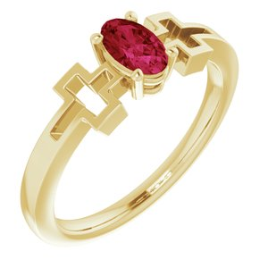 14K Yellow Lab-Grown Ruby Youth Solitaire Cross Ring