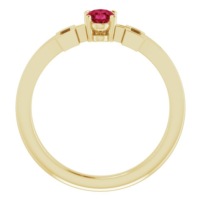 14K Yellow Chatham® Created Ruby Solitaire Cross Youth Ring