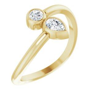 14K Yellow 1/4 CTW Diamond Bezel-Set Bypass Ring