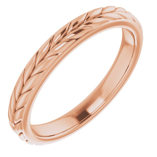 14K Rose 3 mm Leaf Band Size 7
