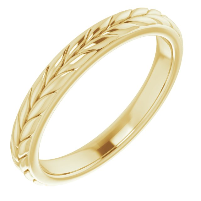 14K Yellow 3 mm Leaf Band Size 7