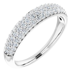 14K White 1/2 CTW Diamond Pavé Anniversary Band