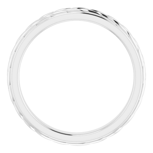 14K White 3 mm Leaf Band Size 7
