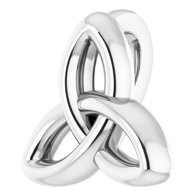 14K White 10x9.3 mm Celtic-Inspired Trinity Pendant