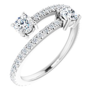 14K White 7/8 CTW Diamond Two-Stone Ring
