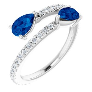 14K White Chatham® Created Blue Sapphire & 1/3 CTW Diamond Ring