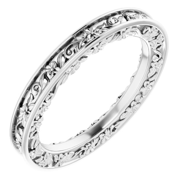 14K White 2.5 mm 2.5 mm Floral Band Size 5