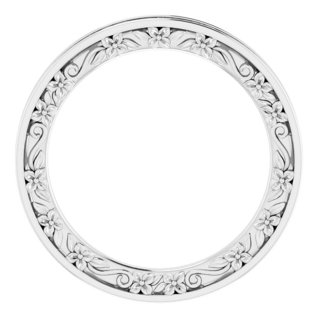 Platinum 2.5 mm 2.5 mm Floral Band Size 7