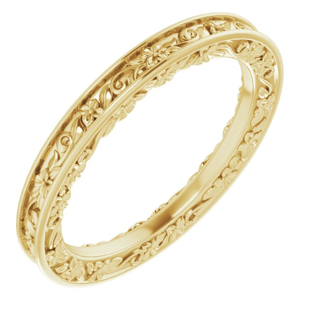 14K Yellow 2.5 mm 2.5 mm Floral Band Size 7.5