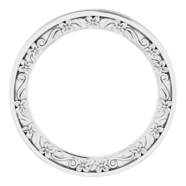 14K White 2.5 mm 2.5 mm Floral Band Size 6