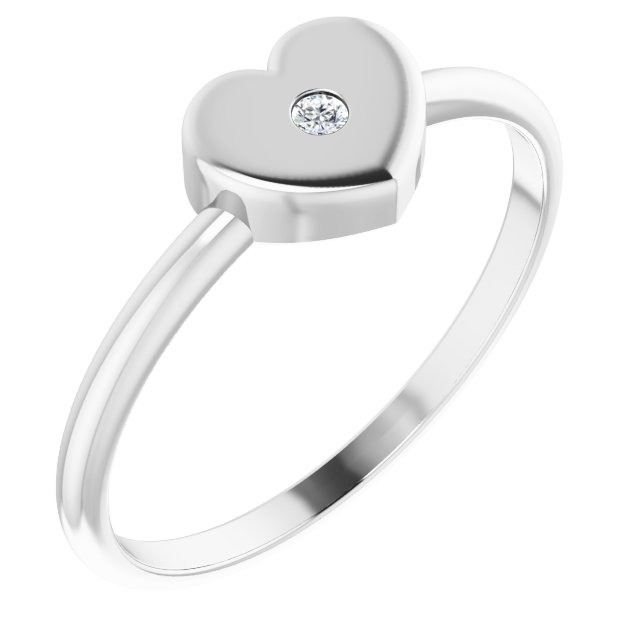 14K White .01 CT Diamond Solitaire Heart Youth Ring