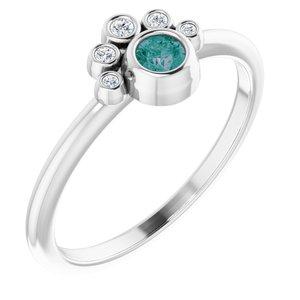 14K White Lab-Grown Alexandrite & .04 CTW Diamond Ring