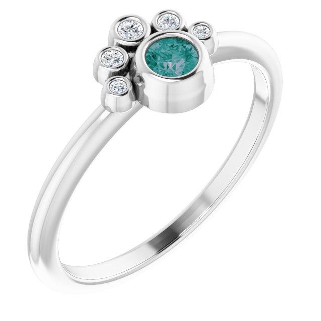 14K White Chatham® Lab-Created Alexandrite & .04 CTW Diamond Ring