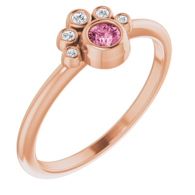 14K Rose Pink Tourmaline & .04 CTW Diamond Ring