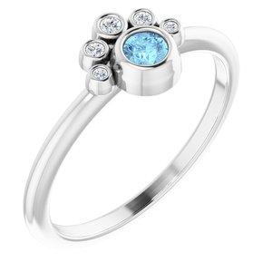 14K White Aquamarine & .04 CTW Diamond Ring
