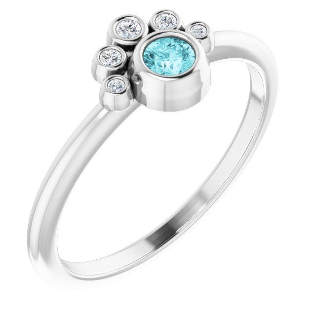 14K White Blue Zircon & .04 CTW Diamond Ring