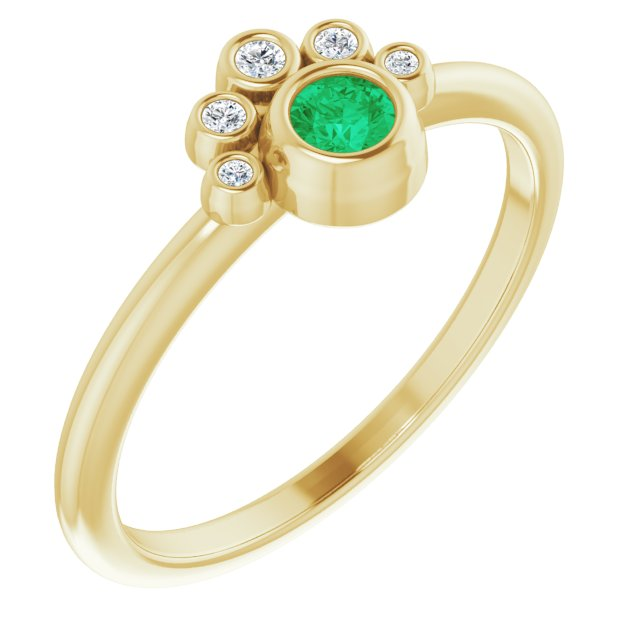 14K Yellow Emerald & .04 CTW Diamond Ring