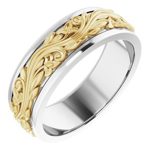 14K White/Yellow 7 mm Sculptural-Inspired Band Size 10