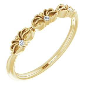 14K Yellow .03 CTW Diamond Crown Ring