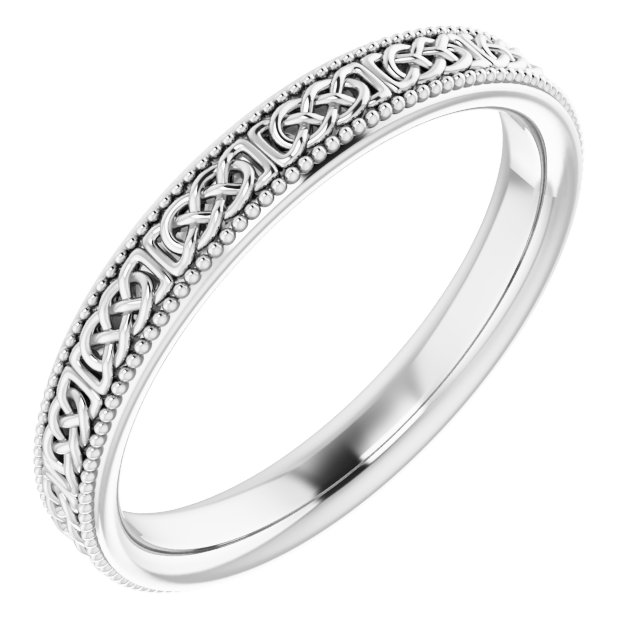 14K White 3 mm Celtic-Inspired Milgrain Band Size 6