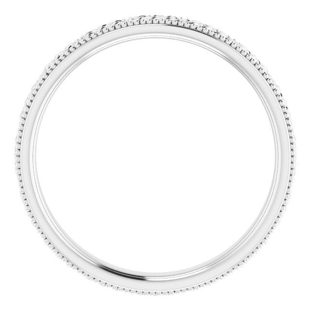 14K White 3 mm Celtic-Inspired Milgrain Band Size 7.5