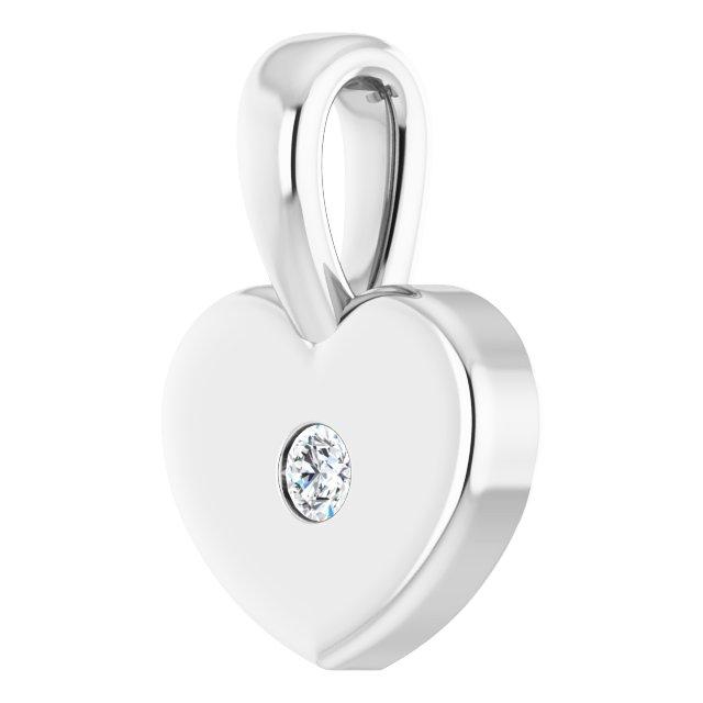 14K White .01 CT Diamond Youth Heart Pendant