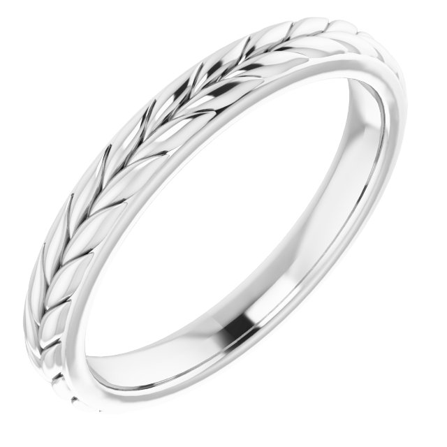 Platinum 3 mm Leaf Band Size 7.5