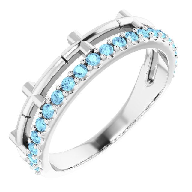 14K White Aquamarine Stackable Cross Ring